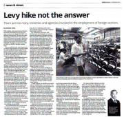 [Newspaper 15/2/2016 ] Levy hike not the answer